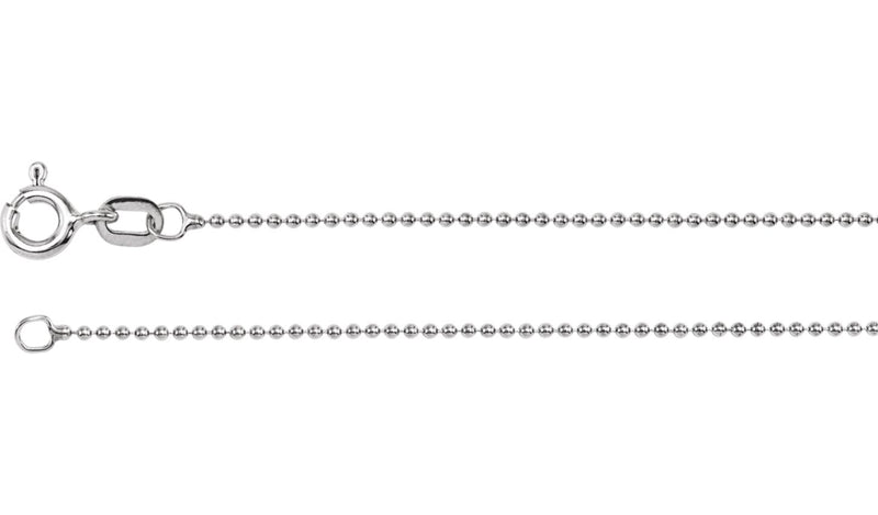 "14K White 1 mm Solid Bead 20"" Chain"