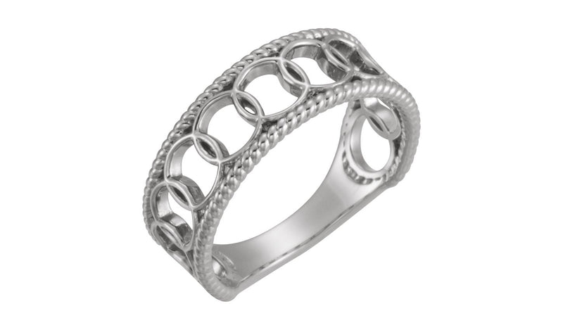 14K White Geometric Rope Ring