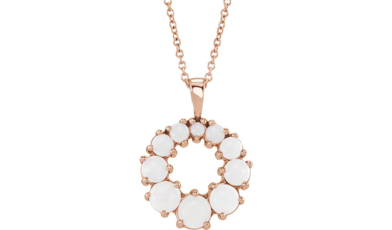 "14K Rose Opal Halo-Style 18"" Necklace"