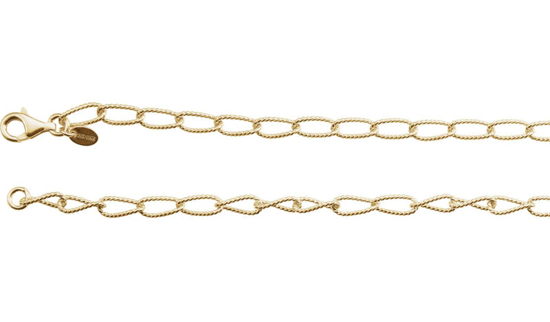 "24K Yellow Vermeil 4.5 mm Knurled Curb 24"" Chain"