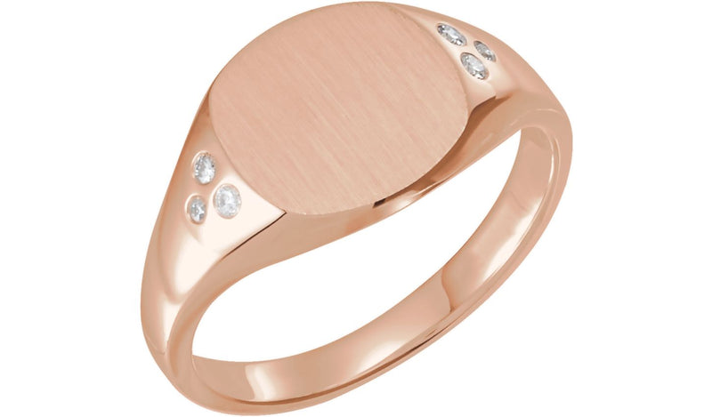14K Rose .05 CTW Diamond Ladies Signet Ring
