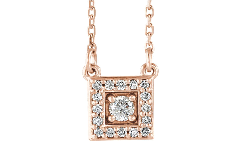 "14K Rose 1/8 CTW Diamond Halo-Style Square 16-18"" Necklace"