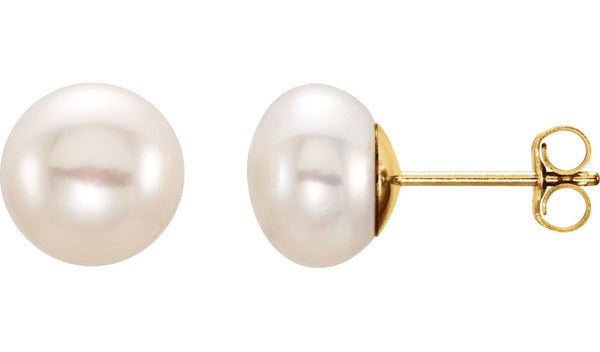 14K Yellow 8-9 mm White Freshwater Cultured Pearl Earrings