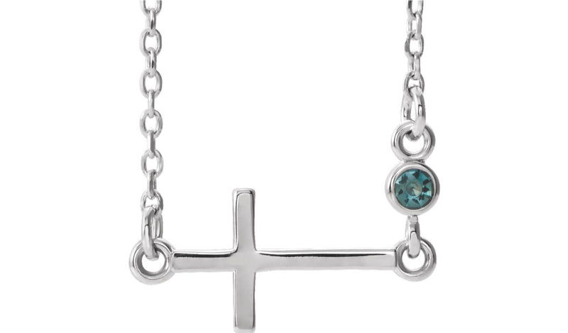 "14K White Alexandrite Sideways Accented Cross 16-18"" Necklace"