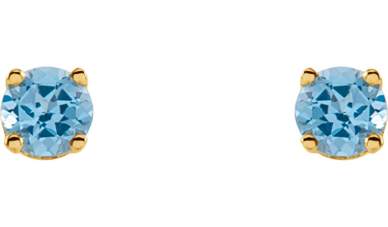 14K Yellow Genuine Swiss Blue Topaz Earrings