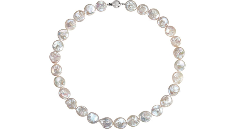 "Sterling Silver Freshwater Cultured Coin Pearl 18"" Necklace"