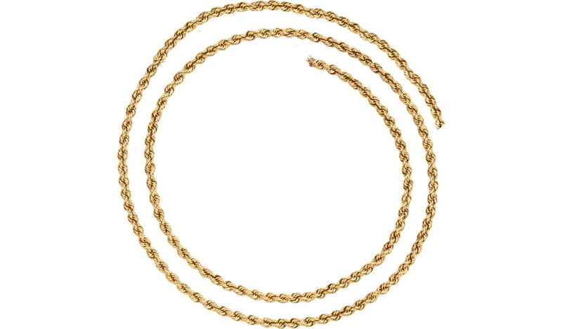 "14K Yellow 3 mm Rope 18"" Chain - THE LUSTRO HUT"