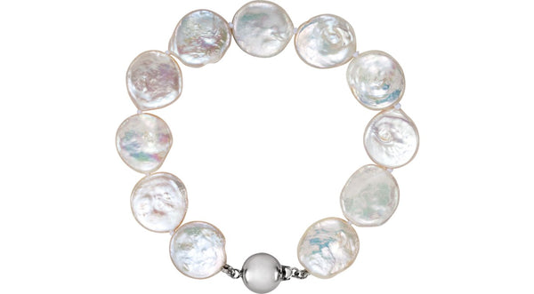 "Sterling Silver Freshwater Cultured Coin Pearl 7.75"" Bracelet"