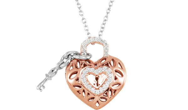 "14K Rose Gold-Plated Sterling Silver 1/6 CTW Diamond Heart 18"" Necklace"