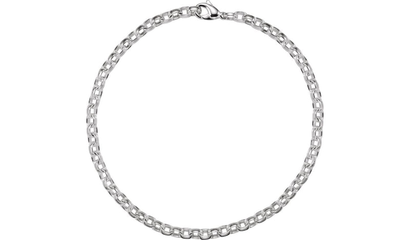 "Sterling Silver 6.75 mm Flat Cable 18"" Chain"