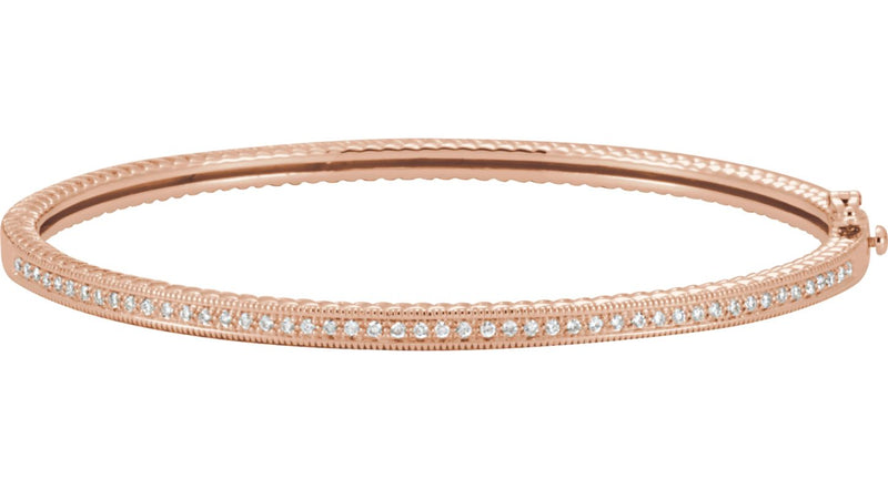 14K Rose Gold 1/3 CTW Diamond Bangle Bracelet