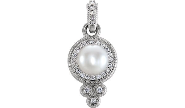 14K White 6-6.5 mm Freshwater Cultured Pearl & 1/8 CTW Diamond Pendant - THE LUSTRO HUT
