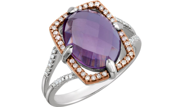 14K Rose Gold-Plated Sterling Silver Amethyst & 1/5 CTW Diamond Ring Size 8