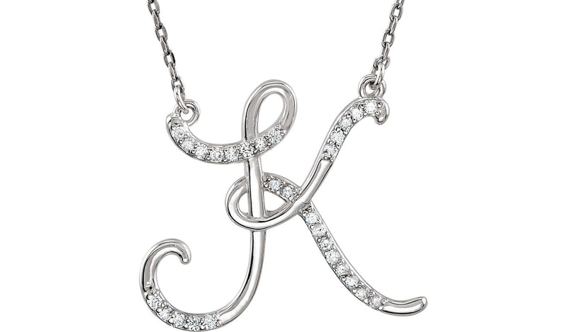 "14K White Letter ""K"" 1/6 CTW Diamond Initial 17"" Necklace"