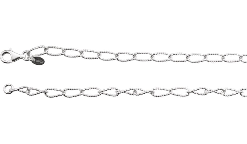 "Sterling Silver 4.5 mm Knurled Curb 24"" Chain"