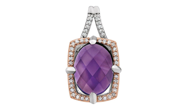 Sterling Silver Rose Gold Plated Amethyst & 1/6 CTW Diamond Pendant