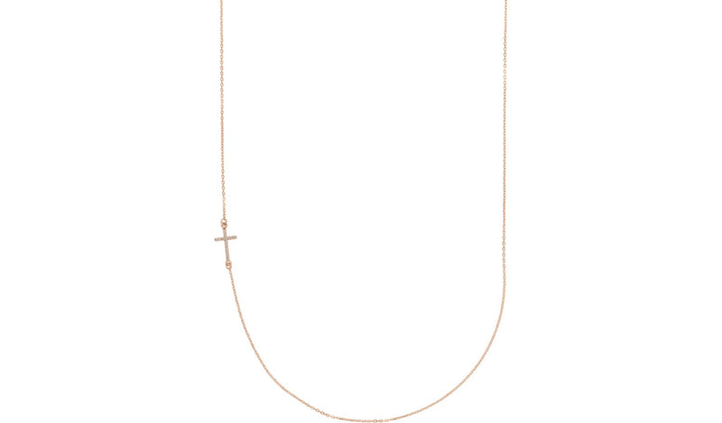 "14K Rose .05 CTW Diamond Off-Center Sideways Cross 16"" Necklace - THE LUSTRO HUT"