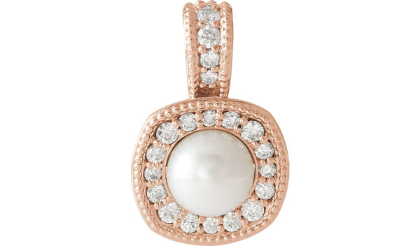 14K Rose White Freshwater Cultured Pearl & 1/4 CTW Diamond Pendant - THE LUSTRO HUT