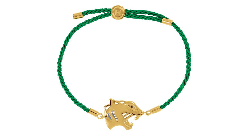 "18K Yellow Gold Vermeil Tiger Symbol for Power Green Rope 8"" Bracelet"