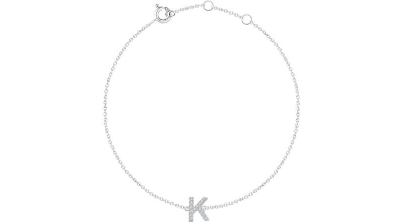 "14K White Gold .05 CTW Diamond Initial ""K"" 6-7"" Bracelet"