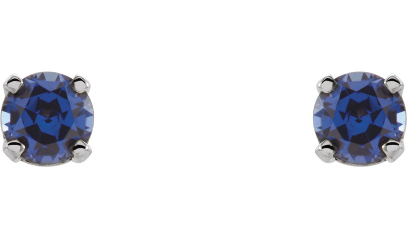 14K White Chatham® Lab-Created Blue Sapphire Earrings