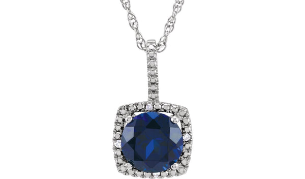 "Sterling Silver 7 mm Lab-Grown Sapphire & .015 CTW Diamond 18"" Necklace"