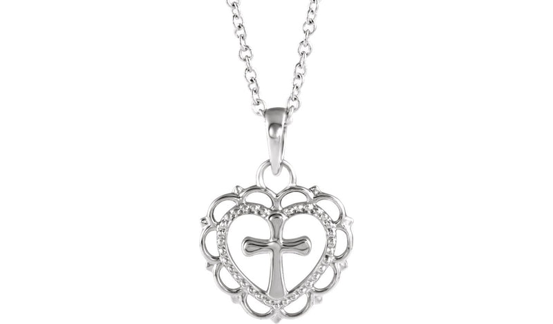 "Sterling Silver Youth Heart with Cross 16-18"" Necklace"