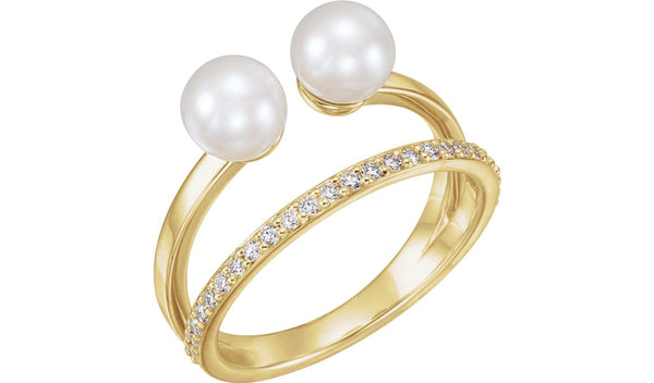 14K Yellow Freshwater Cultured Pearl & 1/5 CTW Diamond Ring
