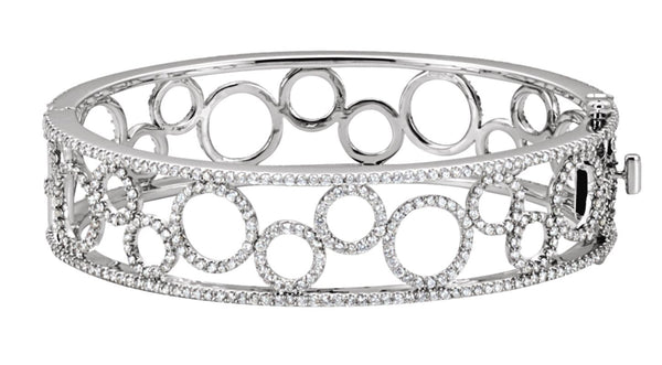 14K White Gold 6 7/8 CTW Diamond Bangle Bracelet - THE LUSTRO HUT