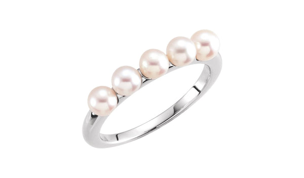 14K White 4-4.5 mm Five-Stone Pearl Ring