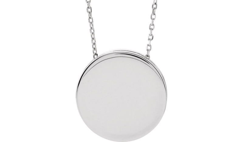 "14K White Engravable Scroll Disc 16-18"" Necklace"
