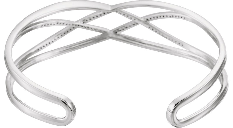 "14K White Gold 3/4 CTW Diamond Criss-Cross Cuff 7"" Bracelet"