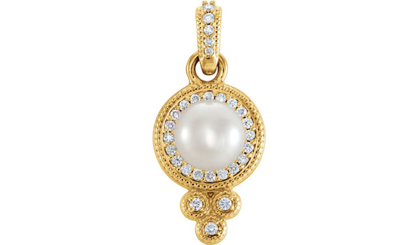 14K Yellow 6-6.5 mm Freshwater Cultured Pearl & 1/8 CTW Diamond Pendant - THE LUSTRO HUT