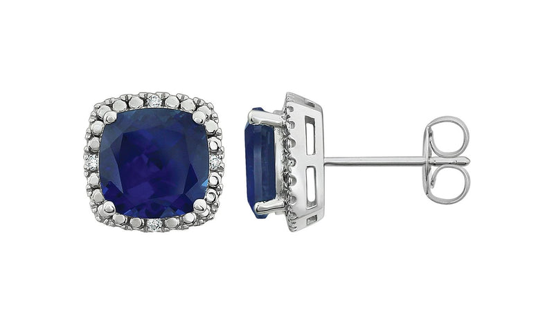 14K White Created Blue Sapphire & .06 CTW Diamond Earrings