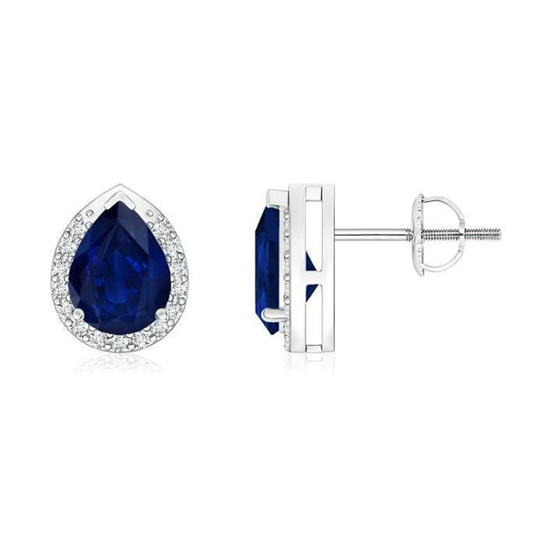 Pear CEYLON BLUE SAPPHIRE round diamond stud earring white gold 14k