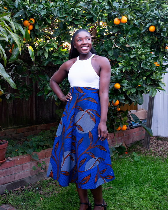 African Wax Print Midi Skirt (Royal Blue)