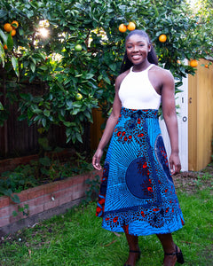 African Wax Print Midi Skirt (Blue)