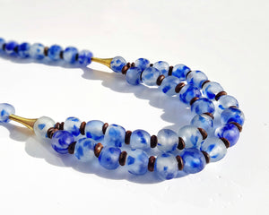 Long layered glass necklace - Speckled cobalt