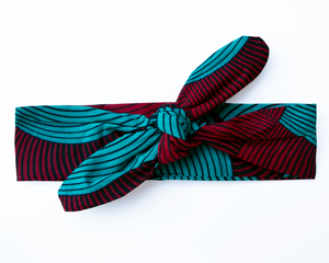 Wired headband - Red and Teal swirl
