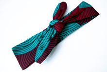 Load image into Gallery viewer, Wired headband - Red and Teal swirl
