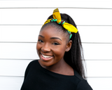 Wired headband - Yellow Turquoise Tiger Lily