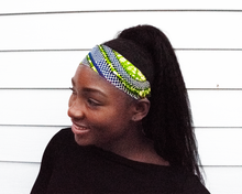 Load image into Gallery viewer, Wired headband - Blue Green Snakes