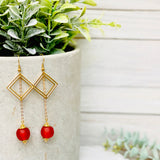 Diamond drop earring - Red