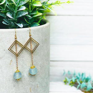 (Wholesale) Diamond drop earring - Ice Blue