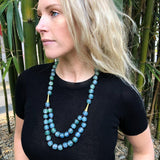 Long layered glass necklace - Sky Blue / Sea green