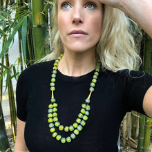 Load image into Gallery viewer, Long layered glass necklace - Speckled Lime