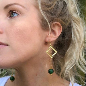 Diamond drop earring - Green