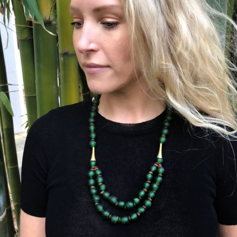 Long layered glass necklace - Forest Green