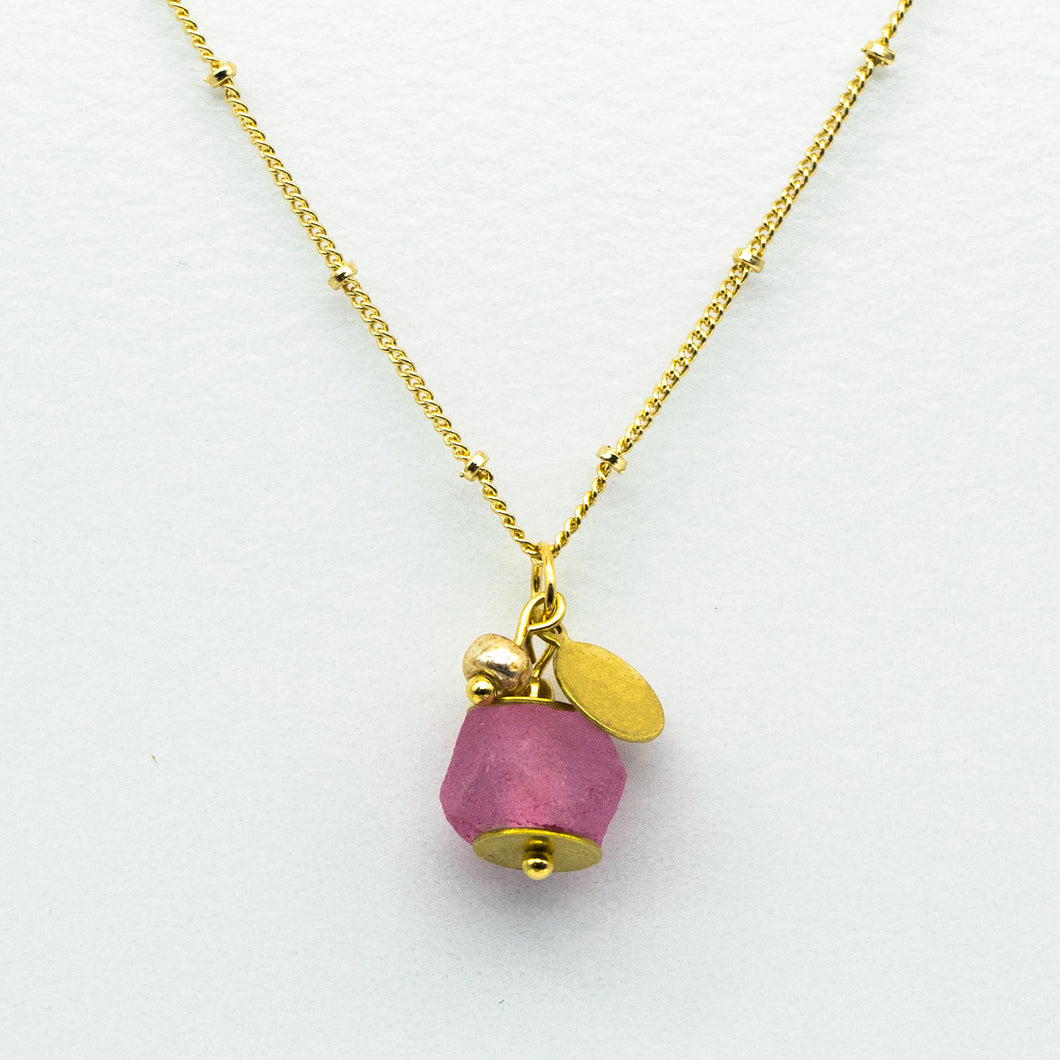 Pink Tourmaline Zodiac Birthstone Necklace (October)