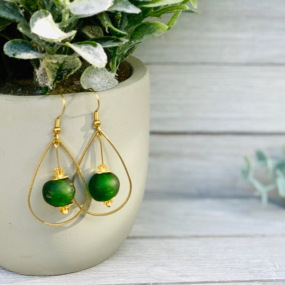 Teardrop earring - Forest Green